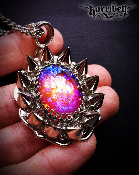 Spiked Fire Opal Necklace // Dragon's Breath Necklace // Spike Jewelry // Gothic Necklace // Galaxy Necklace by horribell