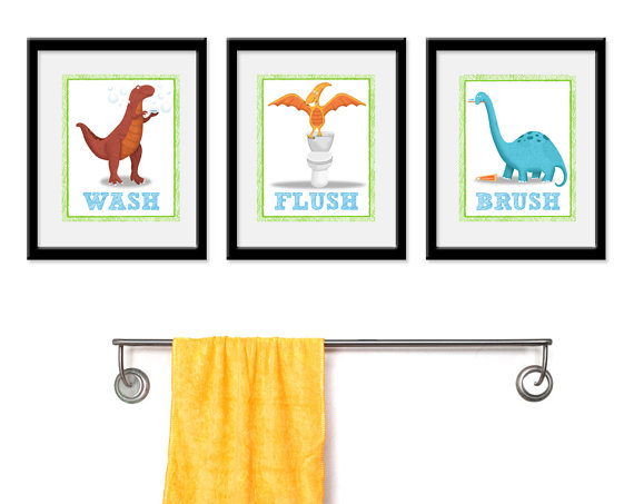 Dinosaur Bathroom Kids Art - Set of Three Bathroom Decor Prints -Dinosaur Theme kids decor, kids wall art, bathroom art, dino kids bathroom by krankykrab