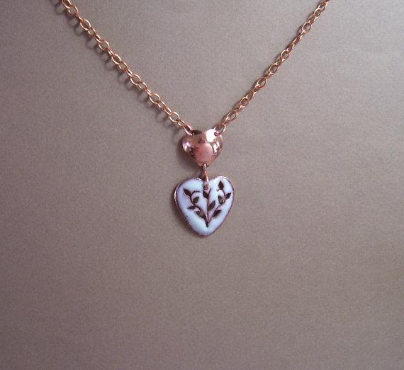 Saw Pierced Copper Heart Necklace by RestringIt