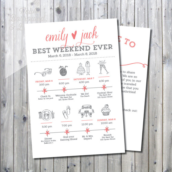 Printable Destination Wedding Icon Itinerary With Welcome