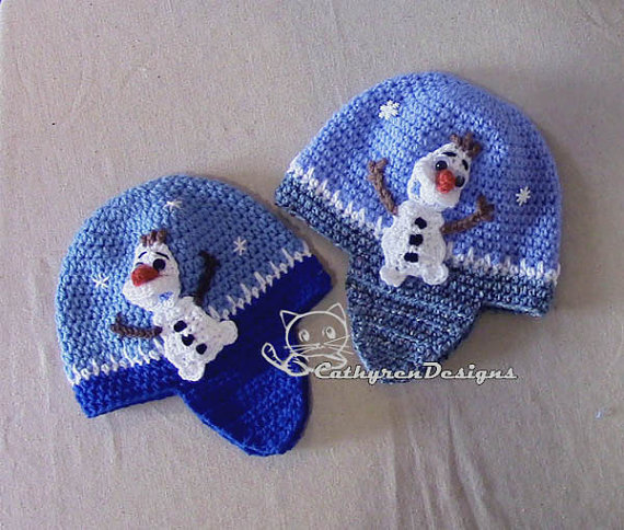 Earflaps Hat with Applique Snowman Olaf, 4 Sizes Baby- Adult, INSTANT DOWNLOAD Crochet Pattern by CathyrenDesigns
