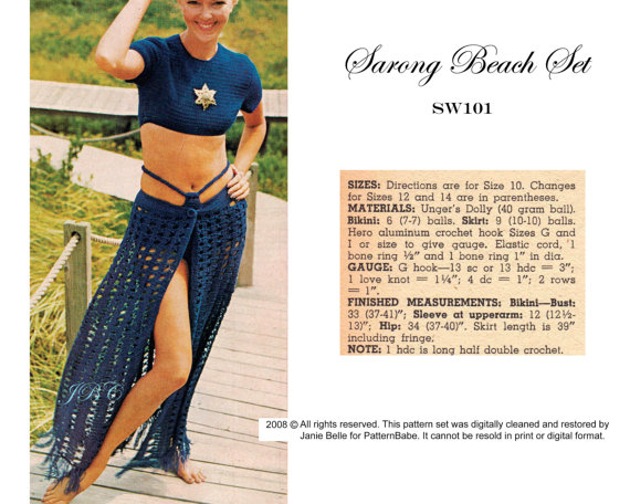 Beach Set Crochet Pattern Swimsuit, Bikini, Midriff Top, Crop Top, Skirt, Cover Up Top Vintage 70s PDF Instant Download SW101 by PatternBabe