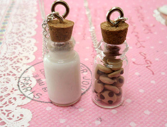 Milk and Cookies Best Friend Necklace Set: BFF Forever; Miniature Food Jewelry, Polymer Clay Food by Cherrydot