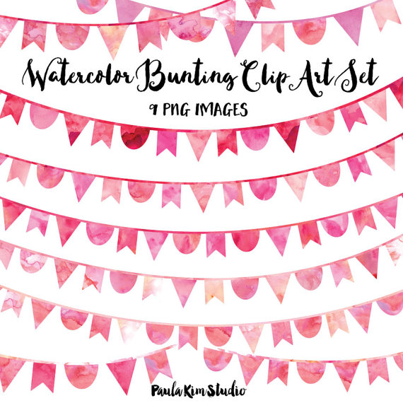 80% OFF SALE Pink Watercolor Bunting Clip Art, Instant Download, Pink Clipart Bunting, Bunting Banner Clip Art, Commercial Use by PaulaKimStudio