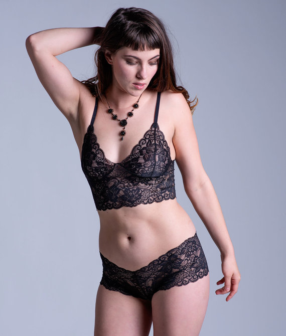 Black Lace Bra - See Through Sheer 'Sassafras' Style Bra - Women's Lingerie - Custom Fit Made To Order by OnTheInside