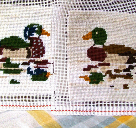 Needlepoint Completed Pictures Ducks Waterfowl Mallards 7 Inch Pair Crewel Destash Needlework Images Small Needle Art Tapestry FREE SHIPPING by pinkpainter