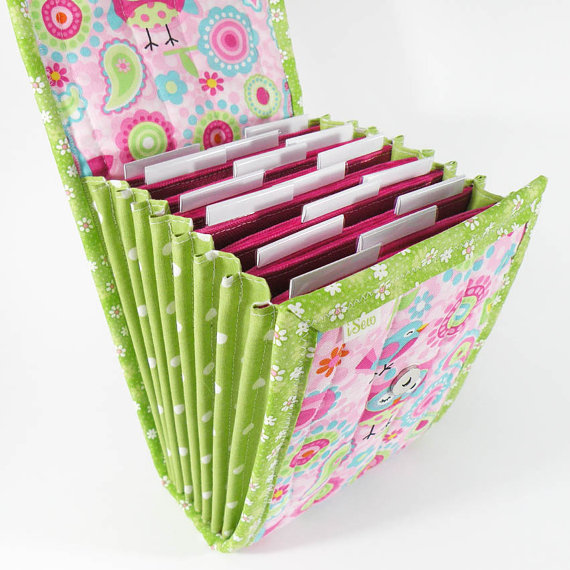 Circular Needle Case – Pink Owls – Needle Holder Needle Wallet Circular Needle Organizer Green Colorful by iSew