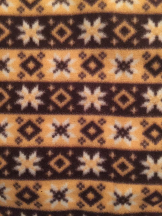 Brown and Maize Snowflakes Fleece Fabric 2 Yards Destash by sews4queens