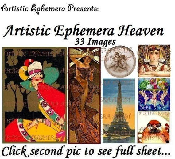 DAE190 Artistic Ephemera Heaven I – Digital Collage Sheet – JPG – For Handmade Cards, Tags, ATCs, AECOs, Scrapbooking by ArtisticEphemeraDAEs