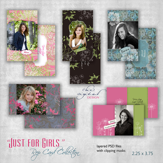 Senior Rep Card Templates – & quot; 2.25 x 3.75 & quot; – & Quot; JUST FOR GIRLS & quot; Collection – Photoshop templates for Photographers by ChicDigitalDesign