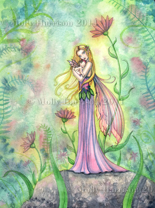 No Greater Gift - Fairy Mother and Baby Fine Art Giclee Print by Molly Harrison 8 x 10 by MollyHarrisonArt