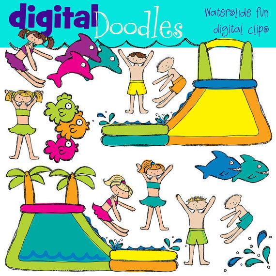 KPM Water Slide Fun digital clip art by kpmdoodles