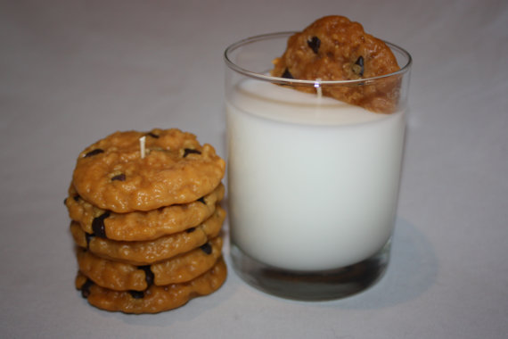 Milk and Cookies Candle Set, Chocolate Chip Cookie, Highly Scented, Unique Candle, Home Decor Candles, Fake Food by CountryRichCreations