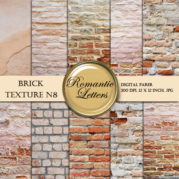 Brick texture digital scrapbook paper pack N8, digital backdrop brick wall texture background shabby chic by RomanticLetters