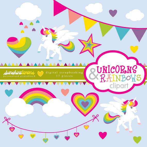 Unicorns and Rainbows Clipart – Unicorn Clipart – Rainbow Clipart – Clipart pack set of 17 – COMMERCIAL USE Read Terms Below by SunshineLemons