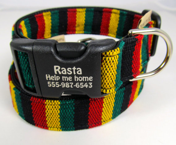 Rasta dog personalized collar Bob Marley Jamaican Style Hand Woven Yarn Dye Dog Identification Red Yellow Green Black Made in USA by FunkyMutt