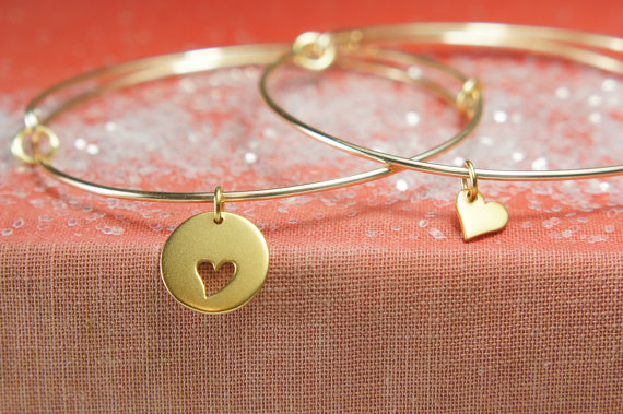 Bangle Bracelet Set, Gold Bracelet, Mother Daughter Bracelets, Friendship Bracelets, Adjustable Bangle by PeaceandCharmJewelry