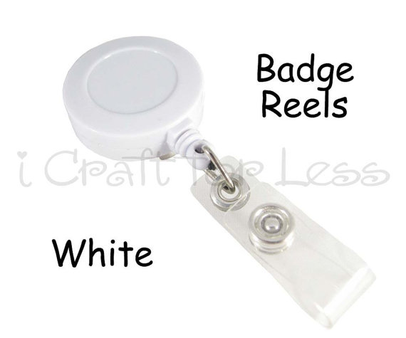 25 Retractable ID Badge Holder / Reels – White – Vinyl Strap and Slide Clip – SEE COUPON by everythingribbons