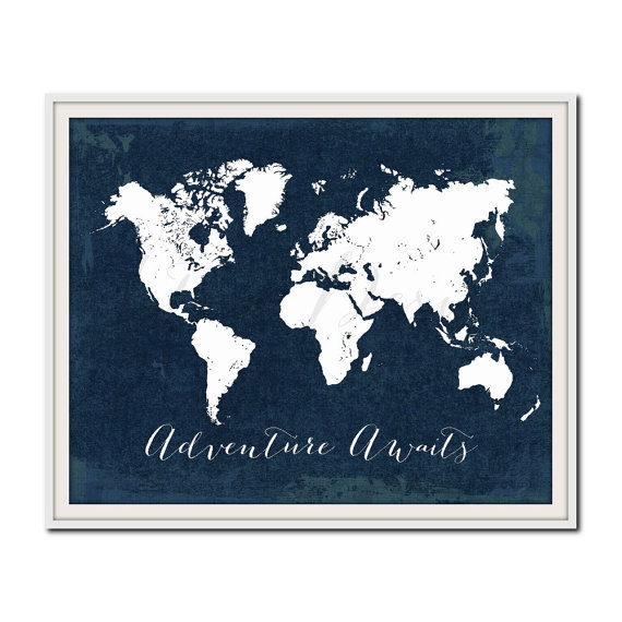 Navy Nursery Print, World Map Print, Travel Poster, Adventure Awaits, Travel Quote Print, Wanderlust, Nautical, Nursery Travel Print by Istriadesign