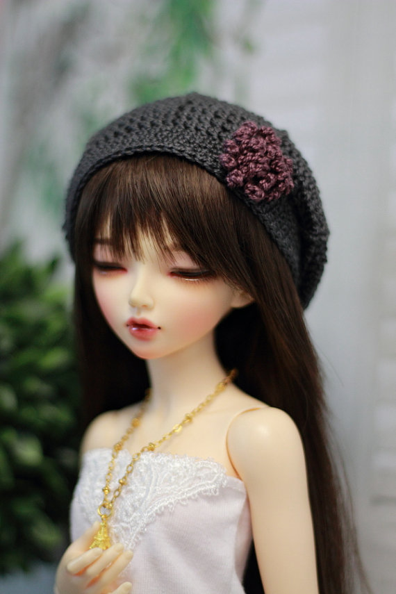 Crochet hat for BJD, Minifee, MSD Beret in Dark Grey with Plum Flower by guppykisses