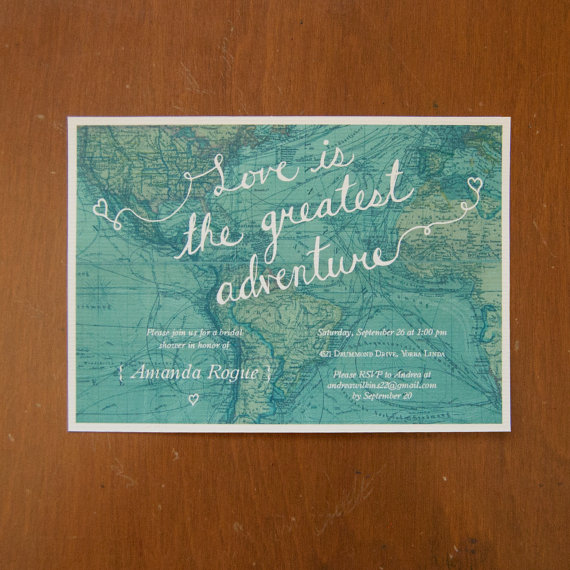 Love is the greatest adventure digital bridal shower invitations map travel by moonscapehandmade