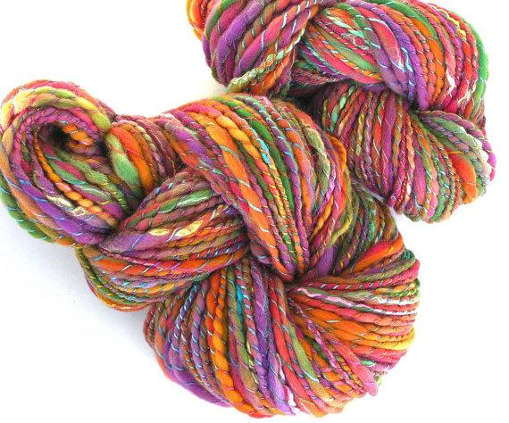 Handspun Yarn Hand Dyed Merino Wool Silk Yarn Super Bulky Yarn Art Yarn 300 yards 8.5 oz - Autumn Dazzle by FiberFusion