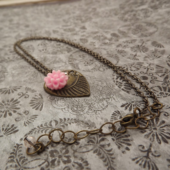 Valentines Jewelry / Brass heart Necklace with a Pink Carnation / Valentines Day by MeLadyJewelry