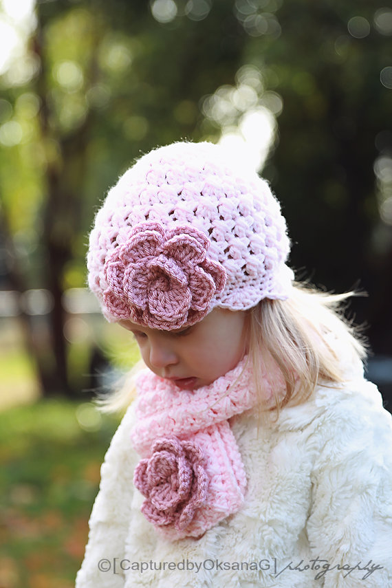 Girl Set, Girl Hat and Scarf, Toddler Set, Girl Handmade Hat, Girl Scarf, Scarf, Hat, Baby Pink, Rose Pink Flower, Photo Prop. Girl Clothing by ChunkyMonkeyBeanies