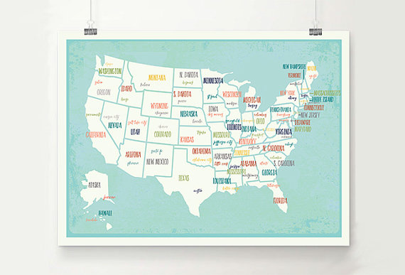 USA Map Wall Art, Digital Download Print, Travel Map, 14x11, 18x12, 24x18, Gender Neutral Nursery Wall Decor, Kid's Room, Play by ChildrenInspire