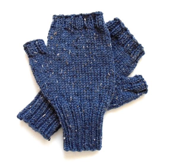 Blue Tweed Fingerless Gloves for Men, Teen Boys, Handknit Texting Gloves, Hand Warmers, winter gloves, Peruvian wool, men's mitts, size M / L by BellaBlueKnits