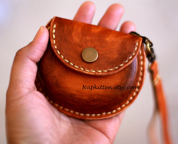 Leather coin purse, leather earbuds pouch case bag, leather purse, coin pouch, change purse, change pouch, hand-painted and stitched by napkitten by napkitten