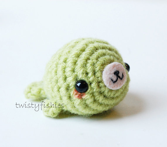 Green Kawaii Seal - Mini Amigurumi Plush by twistyfishies