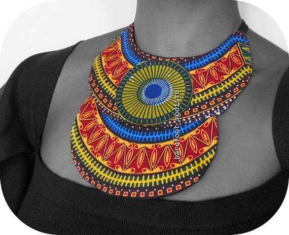 Vibrant African Dashiki neckwear, One of a Kind Ethnic Collar, Unique statement Bib necklace, Ankara NeckCuff, B Modiste Handmade, One Size by BarefootModiste