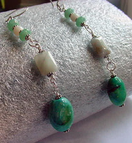 Wirewrapped stones of Aventurine, White Jade, Aquamarine, Turquoise linked into Long Dangling Earrings by bm1coastsbeadworks
