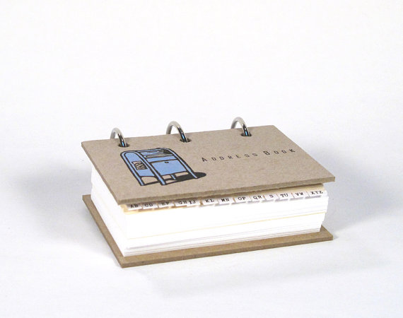 Card-File Address Book Double Stuffed (Blue Post Box) by BethBee