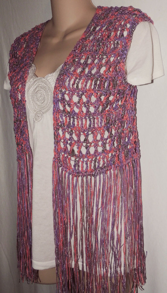 Pdf Crochet Pattern For Long Fringe Vest Or Swimsuit Cover 3 Sizes