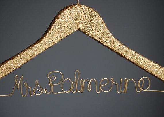 Personalized Gold Glitter Hanger, Lingerie Shower Decoration ...