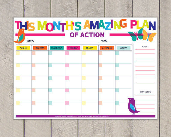 Monthly Planner Printable DIY Organiser Rainbow Bird Butterfly Print Sale by SamOsborneStore