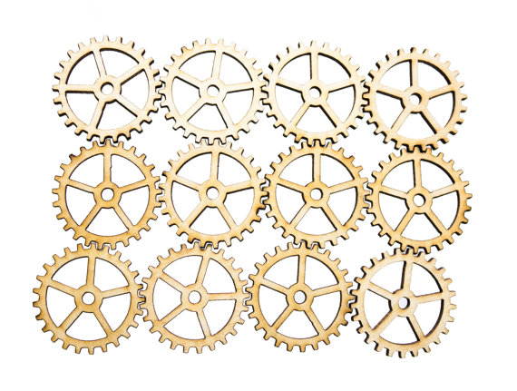 Plywood SteamPunk Gears, Craft Gears, Cheap Wood Gears, Laser Cut - 12qty 1.25 Inch (31.8mm) - BASIC - by YourSteampunk
