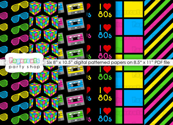 INSTANT download - Printable DIY Neon Green, Pink, Blue & Yellow Totally 80s Theme Patterned Paper Digital PDF File by PapercutsPartyShop