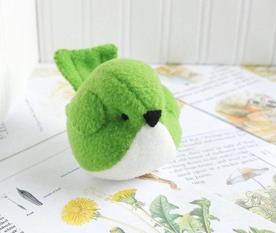 Kids Kelly Green Fleece Bird Stuffed Animal Childrens Handmade Plush Toy by bubbletime