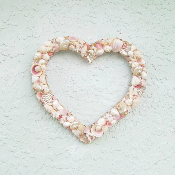 SeaShell Heart, Valentine Wall Art with Seashells, Pink and White Heart, Valentine gift, Door Hanger heart, mothers day gift, baby baptism gift by SandisShellscapes