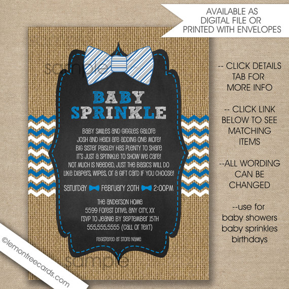 Rustic Bow Tie Baby Sprinkle invitations, blue grey white burlap invites, boy baby sprinkle invites, boy baby shower invitations by lemontreecards