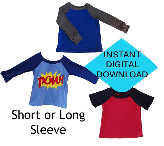 cdcd5b289 Kids Raglan Shirt Sewing Pattern- PDF tutorial- Long or Short Sleeve by  BuddyBoyApparel