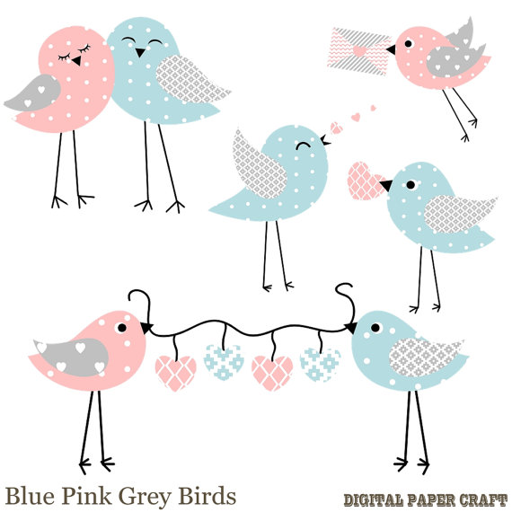 Patterned Bird clipart / Blue, Grey, Pink and white Birds -Digital Download- Birds with Hearts-Png Files by DigitalPaperCraft