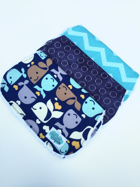 Boutique Baby Boy Burp Cloth Set – Set of Three Chenille Burp Rags – Whale Love, Teal and White Chevron, Navy and Silver Polka Dots by ckstitches