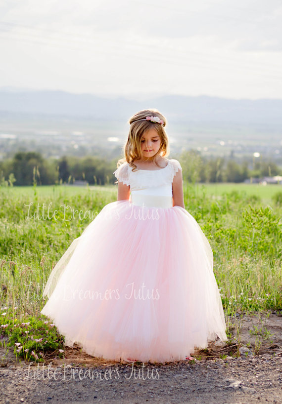 NEW! The Everly Dress in Ivory and Pink Blush – Flower Girl Tutu Dress by littledreamersinc