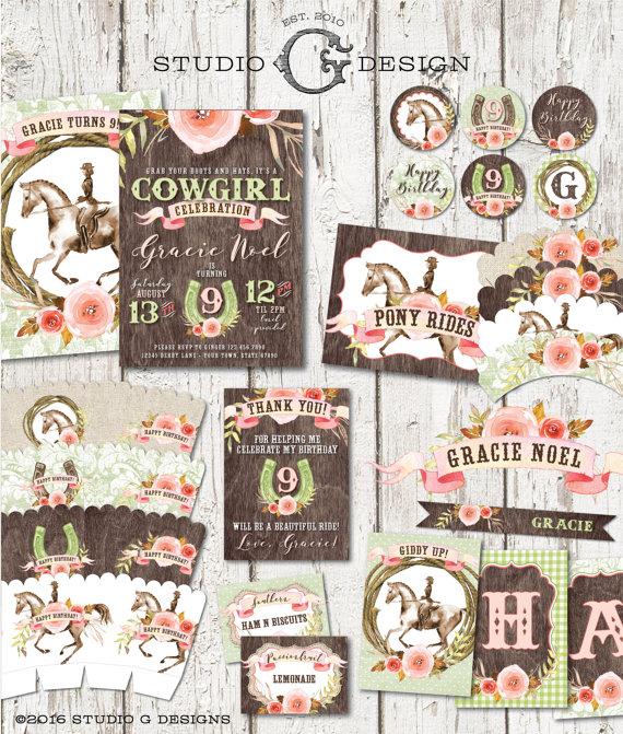 EQUESTRIAN COWGIRL INVITATION Birthday Party Package - Personalized Printable Files - Pony Horse Show Watercolor Burlap Damask Wood by studioGdesigns