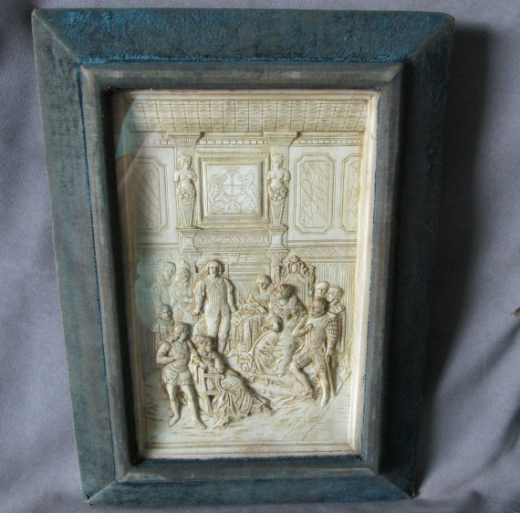19thC Shadowbox Frame Elizabethan, Shakespeare Scene by Neatcurios