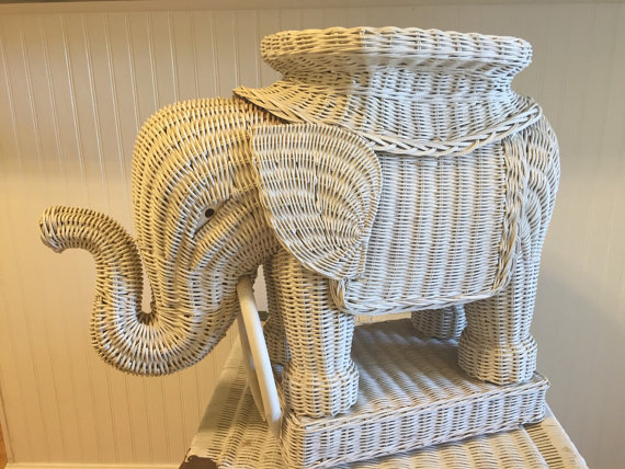 WHITE WICKER ELEPHANT Trunk Up, Stool, Plant Stand, Side Table, Boho, Asian, Bollywood, Beach, Palm Beach Chic at A Vintage Revolution by avintagerevolution